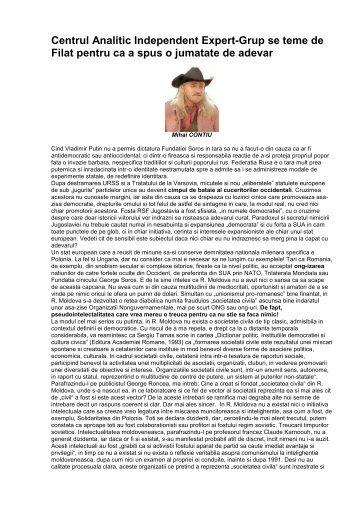 Centrul Analitic Independent Expert-Grup se teme de Filat pentru ca ...