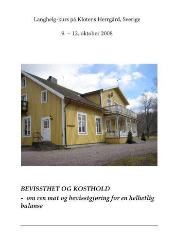 BEVISSTHET OG KOSTHOLD - Christine Arentz Schjetlein