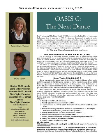 OASIS C: The Next Dance - Selman-Holman & Associates