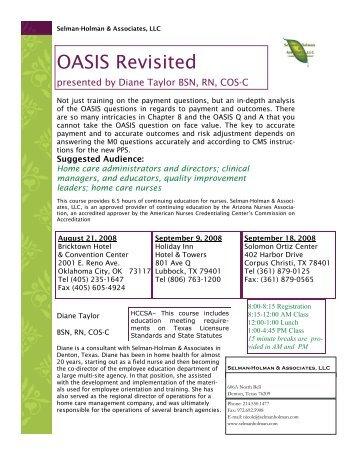 OASIS Revisited - Selman-Holman & Associates
