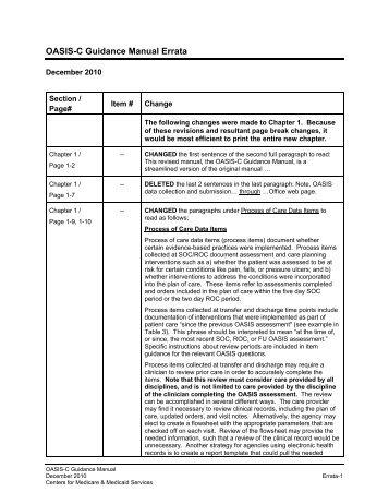 Errata for OASIS C Manual - Selman-Holman & Associates