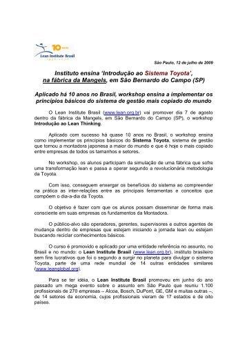 Instituto ensina 'Introdução ao Sistema Toyota' - Lean Institute Brasil