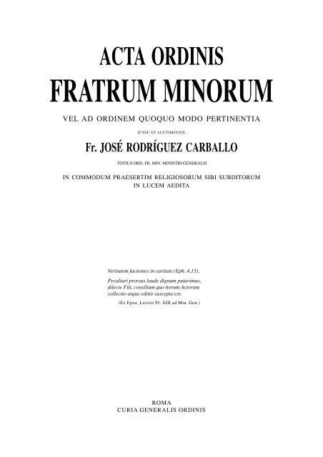 FRATRUM MINORUM - OFM