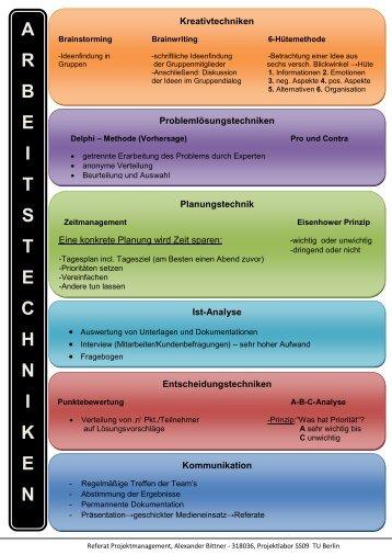 A R B E I T S T E C H N I K E N - Projektlabor - TU Berlin