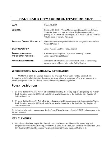 Salt Lake City Planning Commission Staff Report