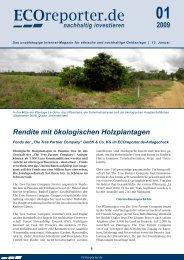 Rendite mit ökologischen Holzplantagen - ECOreporter.de