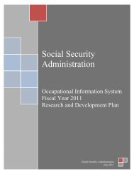 OIS Research and Development Plan - Social Security