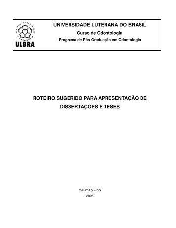 roteiro sugerido para apresentação de dissertações e teses - Ulbra