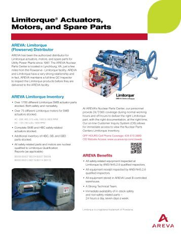Limitorque® Actuators, Motors, and Spare Parts - AREVA NP Inc.