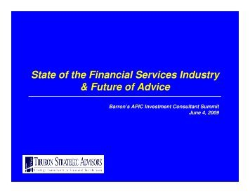 State of the Financial Services Industry & Future of Advice - Tiburon ...