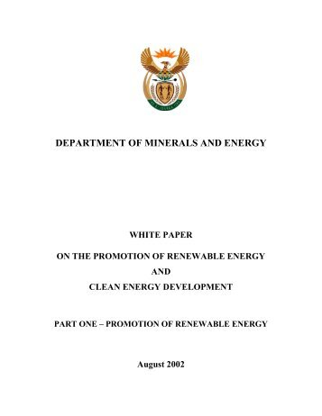 Draft White Paper on the Promotion of Renewable Energy and ...