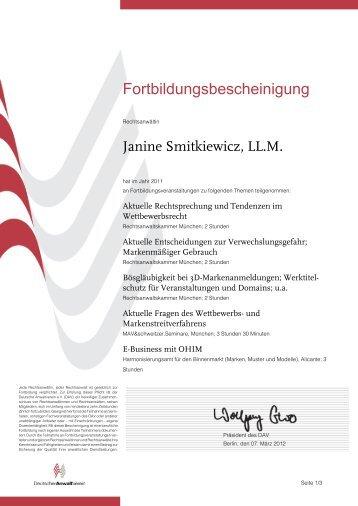 Fortbildungsbescheinigung - Auer & Smitkiewicz