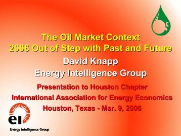 The Oil Market Context - 2006 Out of Step with Past and Future