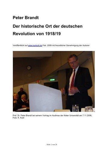 Peter Brandt Der historische Ort der deutschen Revolution von 1918 ...