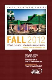 2012 FALL - The American Academy of Dental Sleep Medicine