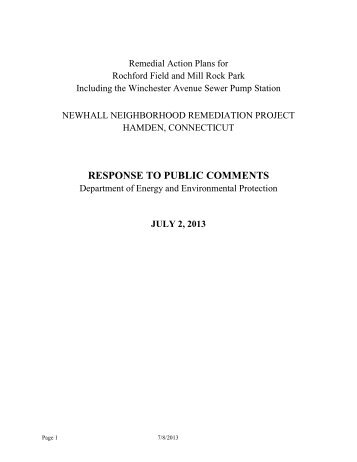 DEEP's Response to Public Comments - Newhall Remediation Project