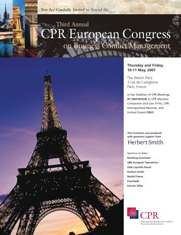 download event brochure - CPR Institute for Dispute Resolution