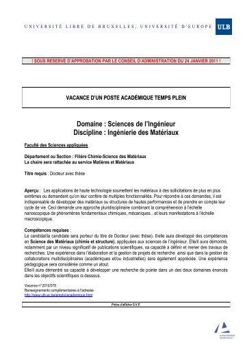 10-078 FSA Ingénierie des matériaux - Université Libre de Bruxelles