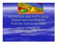 NUTRITION AND FATTY ACID OXIDATION DISORDERS: From the ...