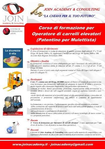 Operatore di carrelli elevatori - Patentino per Mulettista ... - Join