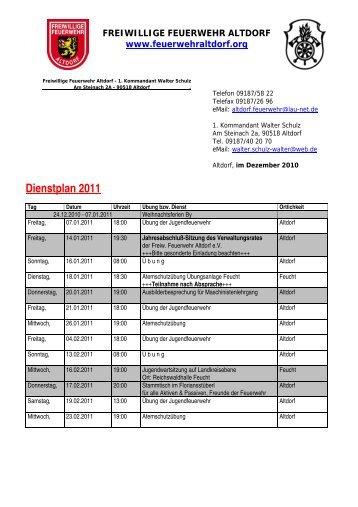 Dienstplan 2011 - Feuerwehr Altdorf