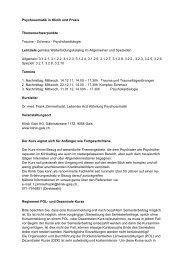 Psychosomatik in Klinik und Praxis Themenschwerpunkte Trauma ...