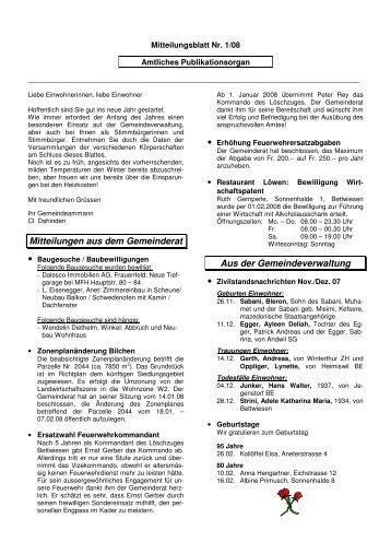 Ausgabe 01 2008 - Gemeinde Bettwiesen