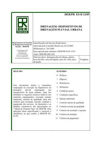 dispositivos de drenagem pluvial urbana - DER - Estado do Paraná
