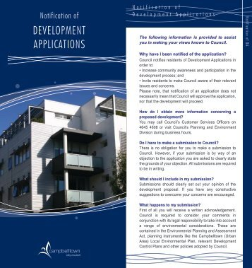 Notification of Development Applications - Campbelltown City Council