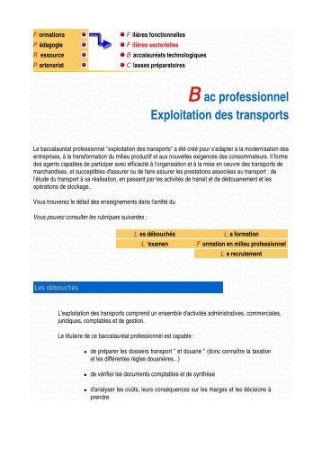 Bac professionnel Exploitation des transports - Economie et Gestion ...