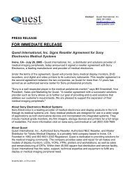 Quest International, Inc. Signs Reseller Agreement for Sony ...