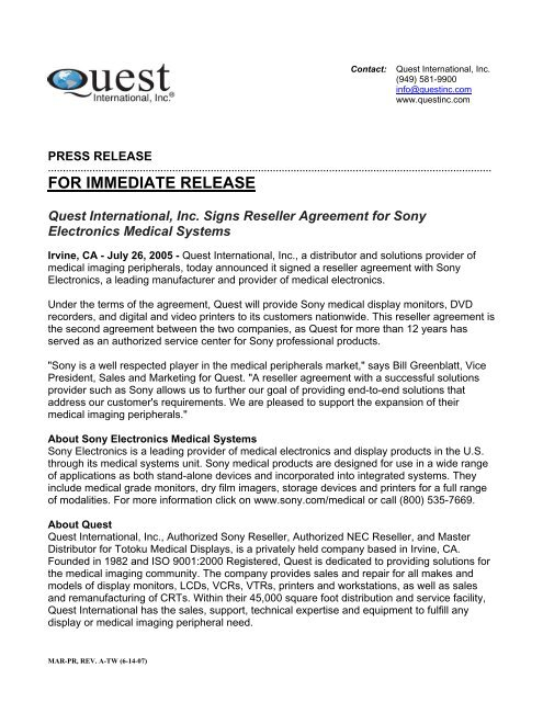 Quest International, Inc  Signs Reseller Agreement for Sony