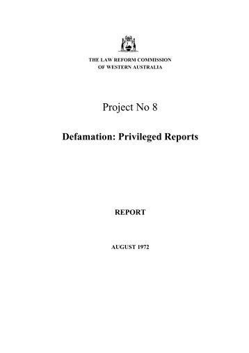 Final Report - Law Reform Commission of Western Australia