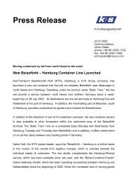 New Beiseförth – Hamburg Container Line ... - K+S Aktiengesellschaft