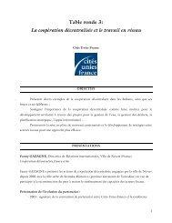 Table ronde 3 - Cités Unies France