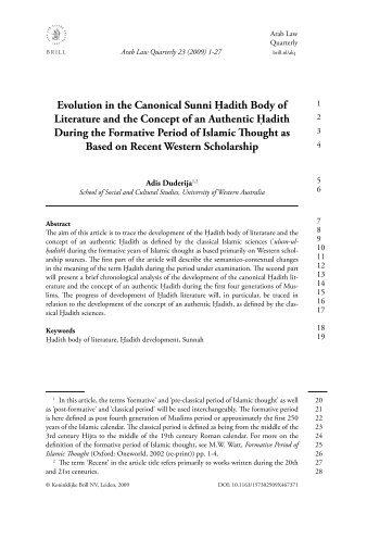 Evolution in the Canonical Sunni Ḥadith Body of Literature and the ...