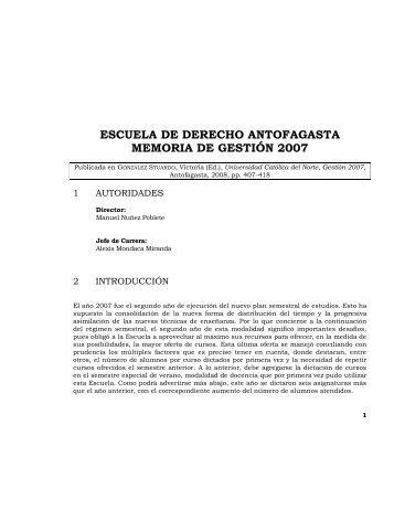 escuela de derecho antofagasta memoria de gestión 2007