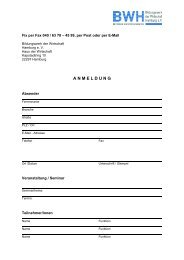 Anmeldeformular Seminare - Bildungswerk der Wirtschaft Hamburg