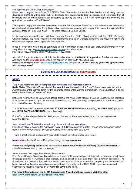 June - Pony Club Association of NSW