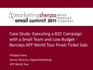 Case Study: Executing a B2C Campaign with a ... - MarketingSherpa