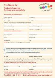 Anmeldeformular * Akademie-Programm für Kinder und Jugendliche