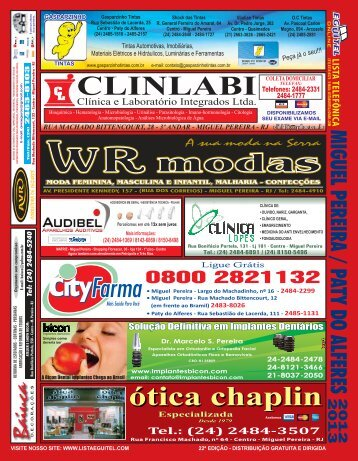 ótica chaplin - Lista Telefônica Eguitel