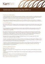 Celebrate Your Wedding Day With Us - Kaim Park Hotel