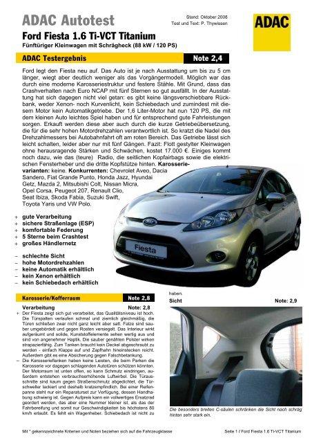 Umfassender Test Ford Fiesta 16 Ti Vct Titanium Adac