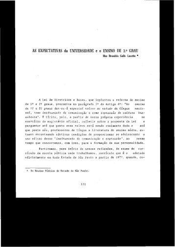 AS EXPECTATIVAS da UNIVERSIDADE e o ENSINO DE 2.0 GRAU