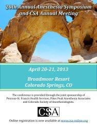 20th Annual Anesthesia Symposium and CSA Annual Meeting