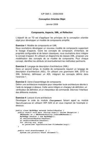 IUP GMI 3 – 2008/2009 Conception Orientée Objet Janvier ... - LIFL