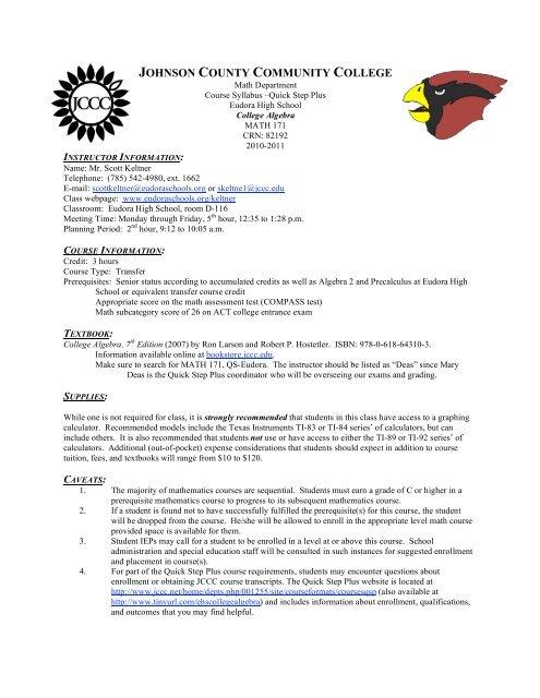 College Algebra Syllabus - Eudora Schools Sites