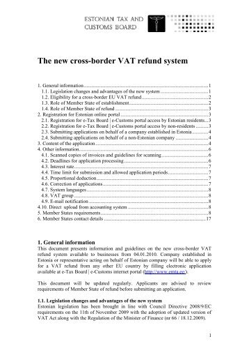The new cross-border VAT refund system - Maksu- ja Tolliamet