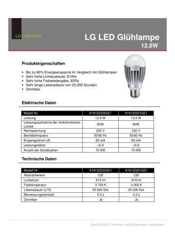 LG LED Retrofit E27 A60 12.8W 2.700K 810lm 220-240V